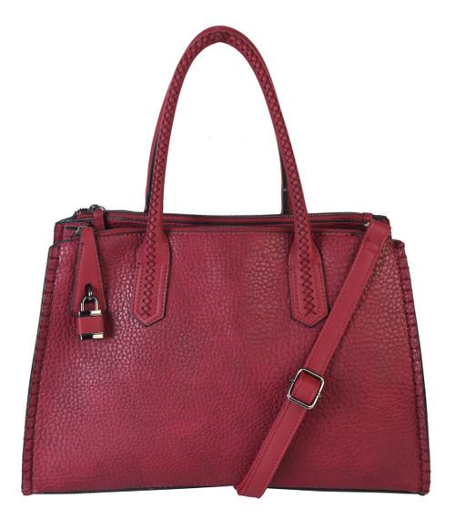 Jaime Burgundy Wine Designer-Inspired Adjustable Shoulder Bag Satchel Handbag Purse