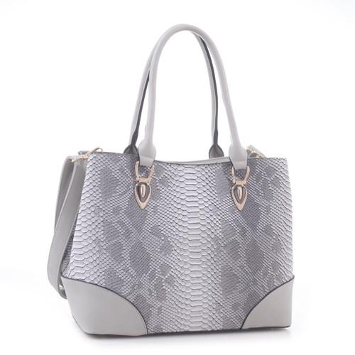 Jenele Python Embossed Pattern Faux Leather Tote Shoulder Hand Bag
