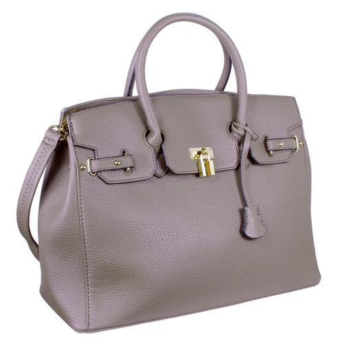 Yessica Designer Inspired Faux Leather Satchel Padlock Style Shoulder Handbag