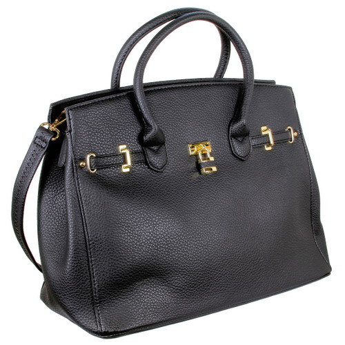 Alyssa Designer Inspired Faux Leather Satchel Padlock Style Shoulder Handbag