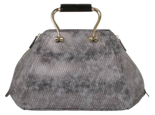 Alyssa Croco-Embossed Dome Faux Leather Large Shoulder Bag