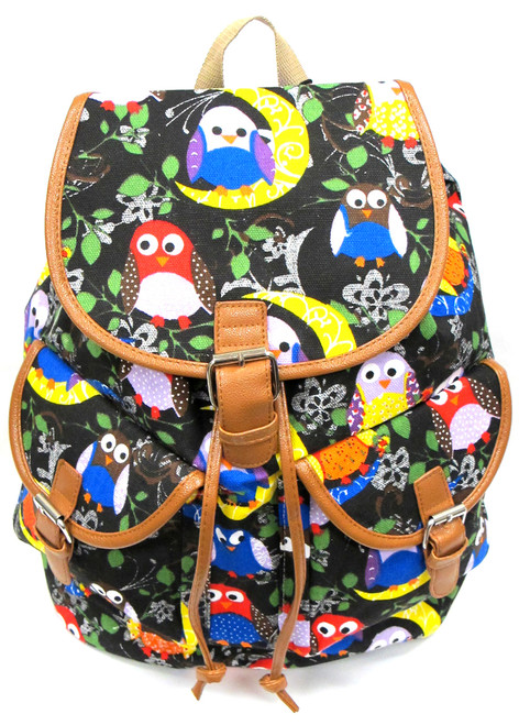 """16"""" Large Women's Canvas Backpack Padded Strap Drawstring Closure Leather Trim for Travel, Outdoor - Owl"""