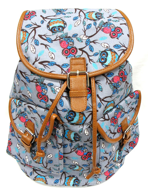 "16"" Large Women's Canvas Backpack Padded Strap Drawstring Closure Leather Trim for Travel, Outdoor -  Grey OWL"