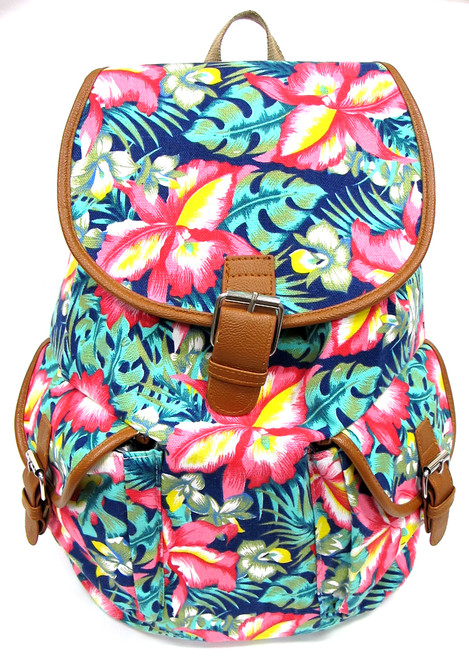 "16"" Large Women's Canvas Backpack Padded Strap Drawstring Closure Leather Trim for Travel, Outdoor - Tropical Flower"