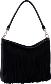Black Faux Suede Western Fringe Tassels Handbag Celebrity Shoulder Bag