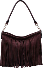 Coffee Faux Suede Western Fringe Tassels Handbag Celebrity Shoulder Bag