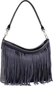 Dark Silver Faux Suede Western Fringe Tassels Handbag Celebrity Shoulder Bag