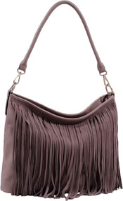 Light Brown Faux Suede Western Fringe Tassels Handbag Celebrity Shoulder Bag