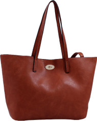 Brown Classic Soft Faux Leather Celebrity Fashion Tote Handbag Purse