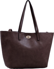 Coffee Classic Soft Faux Leather Celebrity Fashion Tote Handbag Purse