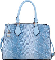 Blue Vegan Leather Snakeskin Tote Fashion Handbag Shoulder bag Purse