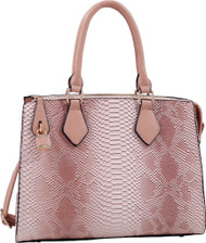 Pink Vegan Leather Snakeskin Tote Fashion Handbag Shoulder bag Purse