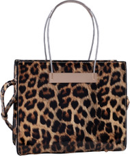 Leopard Print Soft Faux Leather Designer Tote Shop Handbag Purse