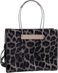 Gray Leopard Print Soft Faux Leather Designer Tote Shop Handbag Purse
