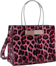 Red Leopard Print Soft Faux Leather Designer Tote Shop Handbag Purse