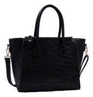 Isabelle Black Alligator Handbag Tote Purse with Adjustable Shoulder Strap
