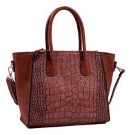 Isabelle Brown Alligator Handbag Tote Purse with Adjustable Shoulder Strap