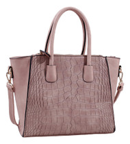 Isabelle Taupe Alligator Handbag Tote Purse with Adjustable Shoulder Strap