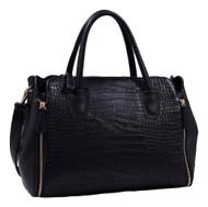 Black Alligator Print Soft Faux Leather Designer Tote Shop Handbag Shoulder Bag Purse