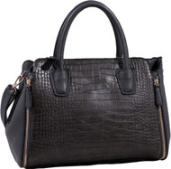 Gray Alligator Print Soft Faux Leather Designer Tote Shop Handbag Shoulder Bag Purse