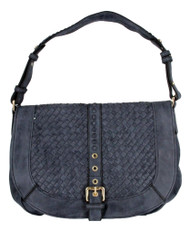 Blue Basketweave Celebrity Fashion Designer Hobo Handbag Shoulder Bag Purse