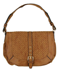 Tan Basketweave Celebrity Fashion Designer Hobo Handbag Shoulder Bag Purse