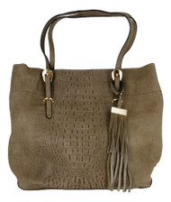 Taupe Alligator Embossed Soft Faux Leather Fashion Designer Shop Tote Handbag Purse