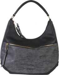 Black Contrast Fade Wash Soft Faux Leather Shoulder Fashion Handbag hobo Purse