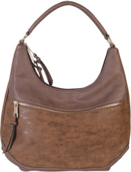Coffee Contrast Fade Wash Soft Faux Leather Shoulder Fashion Handbag hobo Purse