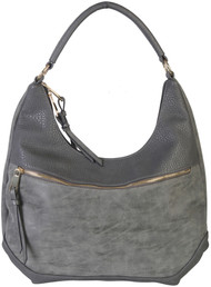 Gray Contrast Fade Wash Soft Faux Leather Shoulder Fashion Handbag hobo Purse