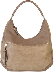 Khaki Contrast Fade Wash Soft Faux Leather Shoulder Fashion Handbag hobo Purse