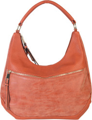 Orange Contrast Fade Wash Soft Faux Leather Shoulder Fashion Handbag Hobo Purse