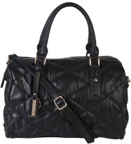 Black Quilt Pattern Soft Faux Leather Shop Tote Shoulder Bag Handbag Purse