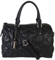 Black Quilt Pattern Soft Faux Leather Shop Tote Shoulder Bag Handbag Purse