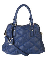 Navy Quilt Pattern Soft Faux Leather Shop Tote Shoulder Bag Handbag Purse