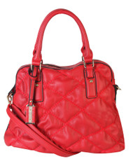 Red Quilt Pattern Soft Faux Leather Shop Tote Shoulder Bag Handbag Purse