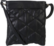Black Quilt Pattern Soft Faux Leather Crossbody Messenger Shoulder Bag Handbag Purse