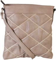 Khaki Quilt Pattern Soft Faux Leather Crossbody Messenger Shoulder Bag Handbag Purse