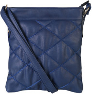 Navy Quilt Pattern Soft Faux Leather Crossbody Messenger Shoulder Bag Handbag Purse