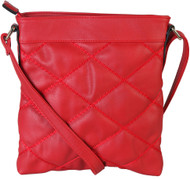 Red Quilt Pattern Soft Faux Leather Crossbody Messenger Shoulder Bag Handbag Purse