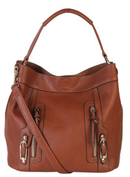 Sadies 2 for 1 HandBag Set Faux Leather Brown Tote With Matching Leather Mini Purse