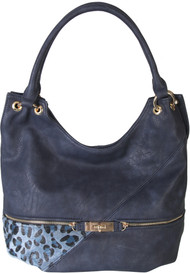 Navy Faux Leather Patch of Leopard Print Shoulder Bag  Hobo Purse Handbag