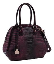 Burgundy Wine Alligator Vegan Leather Shoulder Bag Purse Handbag