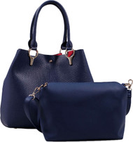 2 for 1 Handbag Set Navy Faux Leather Designer Shopping Tote and Cosmetic/Mini-Handbag Purse Shoulder bag