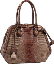 Light Brown Tan Bronze Alligator Vegan Leather Shoulder Bag Purse Handbag