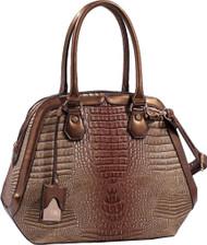 Light Brown Tan Bronze Alligator Vegan Leather Shoulder Bag Purse Handbag