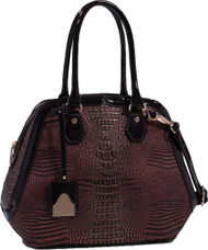 Coffee Dark Chocolate Alligator Vegan Leather Shoulder Bag Purse Handbag