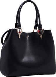 2 for 1 Handbag Set Black Faux Leather Designer Shopping Tote and Cosmetic/Mini-Handbag Purse Shoulder bag