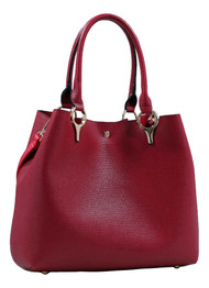 2 for 1 Handbag Set Burgundy Red Faux Leather Designer Shopping Tote and Cosmetic/Mini-Handbag Purse Shoulder bag