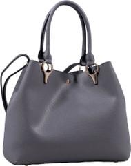 2 for 1 Handbag Set Gray Faux Leather Designer Shopping Tote and Cosmetic/Mini-Handbag Purse Shoulder bag